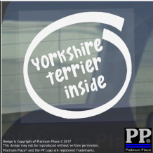1 x Yorkshire Terrier Inside-Window,Car,Van,Sticker,Sign,Adhesive,Dog,Pet,Board